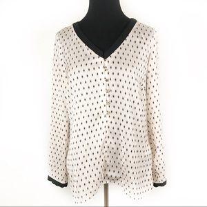 ZARA BASIC   White & Black Long Sleeve Blouse S